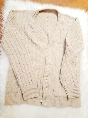 Vintage Lord Jeff Mens Acrylic Cardigan Sweater Knit Sz L Tan Khaki