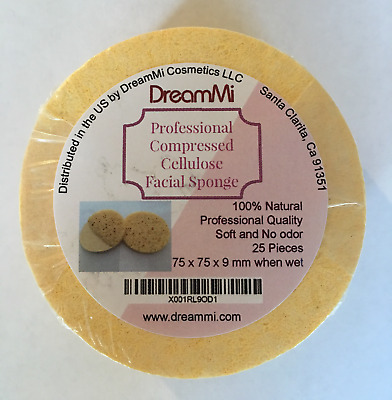 DreamMi Professional Compressed Cellulose Facial Sponge Soft Natural EcoFriendly