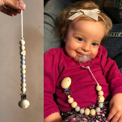 Baby Silicone Wood Bead Pacifier Teether Soother Clip Chain Dummy Nipple Holder