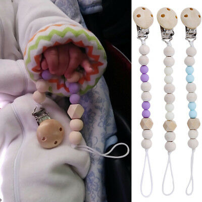 Baby Pacifier Teether Soother Silicone Dummy Wood Bead Nipple Clip Chain Holder