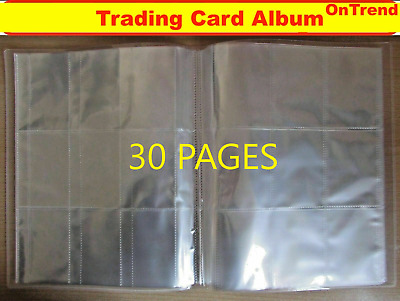 Clear Hard Cover Trading Card Album Folder Binder with 30 Pages 9 Pocket Sleeves