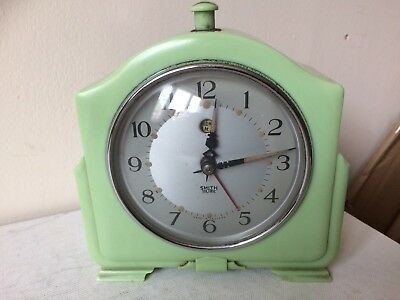 30s 40s Vintage Art Deco Smiths Mint Green Bakelite Sectric Electric Clock