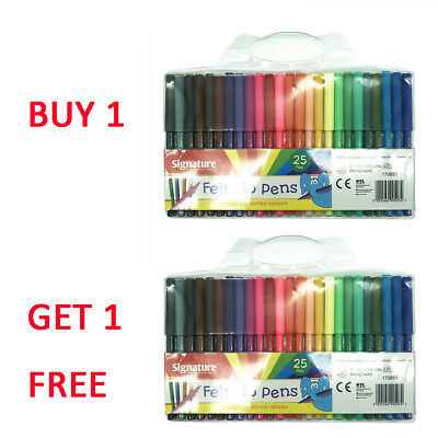 50 Felt Tip Pens Fine Fibre Tipped Drawing Markers Colouring Art School Colour