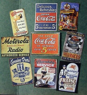 Assorted vintage garage prints 8 x 1/18 or 13 x 1/24 scale. Diorama + BIN offer