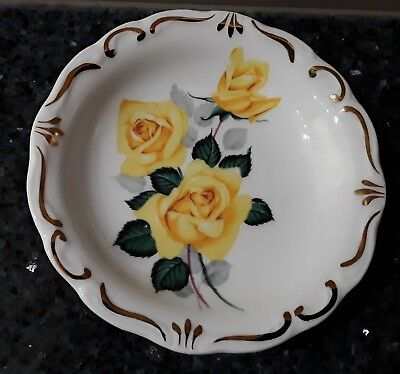 Queen Anne Yellow Rose Butter/Pin Dish Made in England