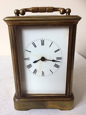 Antique French 8 Day Brass Carriage Clock For Spares Or Repair With Strike
