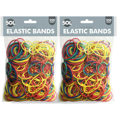 250pk Strong Elastic Rubber Bands Assorted Sizes Home, School and Office 200g