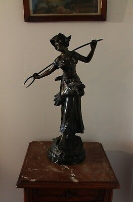 Large French Antique Bronzed Spelter Sculpture of a Farm Girl 'Regain d'Amour'