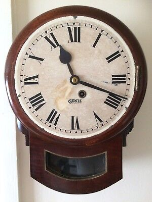 Antique Mahogany Fusee Station/office Wall Clock By Dents Of Leicester Working
