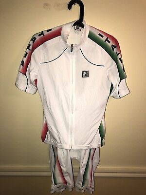 Santini SMS intech Cycling Bibs And Top Mens Large L Or Medium White Italia