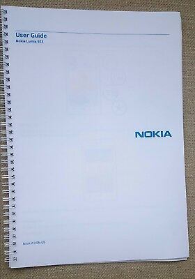 Nokia Lumia 925 User guide Instruction manual  PRINTED IN FULL COLOUR A4 or A5