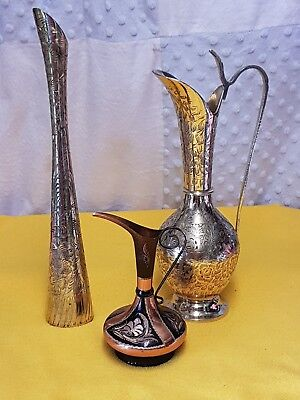 Vintage Brass Lot X3; Gold Etched Vase & Pitcher; 1 Copper Brass Pitcher
