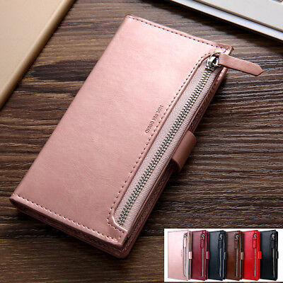 Samsung S10 5G/Plus/S10e S9/8 Zipper Leather Wallet Card Magnetic Case Cover