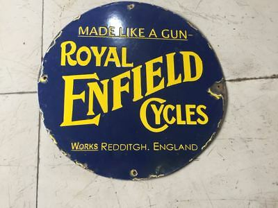 """Porcelain ROYAL ENFIELD Enamel Sign 18"""" INCHES ROUND"""