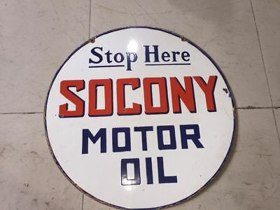 """Porcelain STOP HERE SOCONY MOTOR OIL Sign SIZE 24"""" ROUND DOUBLE SIDED"""