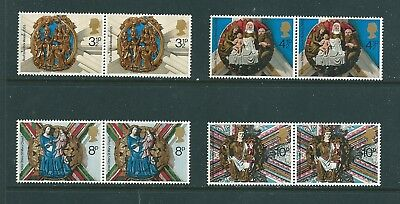 1974 - GB Christmas Stamps Set of 4 Stamps in Pairs SG966/9 MNH