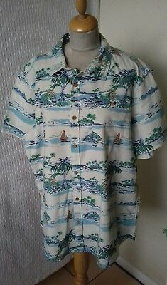 25cd2de17 1940S 1950S STYLE Rockabilly Hawaiian shirt Palm tree size XL chest ...
