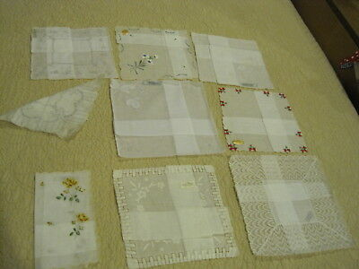 9 Pc Lot of Vintage Hankies / Handkerchiefs, Linen, Cotton, Lace New Never Used