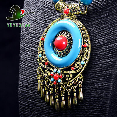 @Gold-plated Inlaid Turquoise & Red Coral Pendant+Bead Necklace Sweater Chain@*2