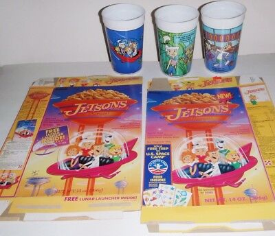 JETSONS Cartoons 2 Cereal boxes Space Camp + 3 Plastic Movie Cups from Wendys