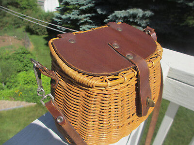Vintage Wicker Basket and Leather Handbag that resembles a Fishing Creel