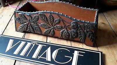 Arts and crafts nouveau style VINTAGE FRENCH wood and copper planter