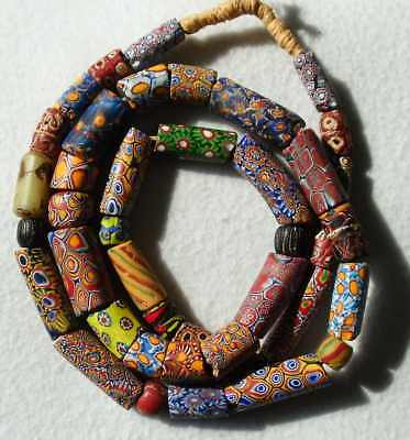 1 STRANG ANTIKE VENEZIANISCHE MILLEFIORI/FANCY GLASPERLEN TRADE BEADS 790mm