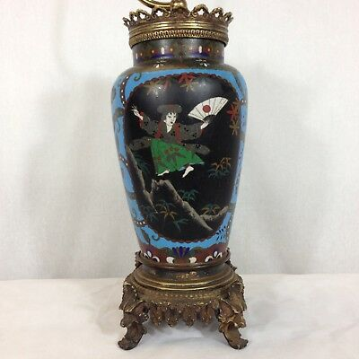 Antique Japanese Cloisonne Lamp Bronze Mounts Figures Birds Etc.