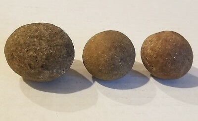 GAME STONE BALL NATIVE AMERICAN ARTIFACT lot of 3