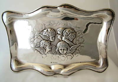 LARGE EDWARDIAN ~ 1906 ~ Sterling Silver REYNOLDS ANGELS TRAY ~ 268g ~ ANTIQUE