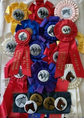 Lot of 20 VTG Horse Show Ribbons Awards Rosettes & Pins 1949-1972 New Jersey Etc