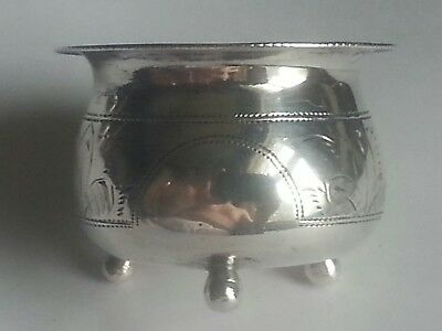 Antique Russian 84  zolotnik silver hand engraved salt cellar c. 1892