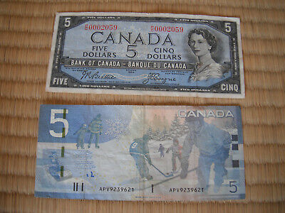 Bank of Canada Five Dollar Banknotes Two (2) Notes FREE SHIPPING