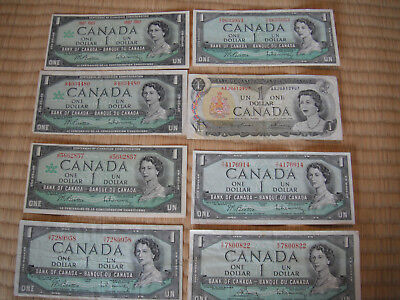 Bank of Canada ONE  Dollar Banknotes Eight (8)  Notes FREE SHIPPING
