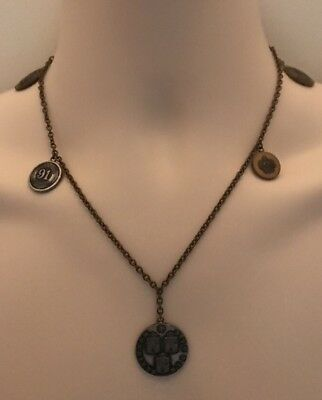 MATSUDA Vintage necklace 5 medallions 1991 antique brass & silver color 18 1/2in