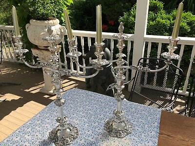 Pair of Antique English Silver Plate Candelabras with Ornate Repousse design