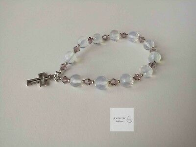 R014 JEWELLERYArtRoom Rosary 8mm faceted opals&crystals, gift
