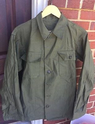 Vintage WWII Korea War US Army OG-107 Utility Cotton Sateen Uniform Shirt Jacket