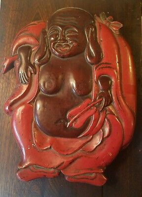 Antique Japanese Carved Wood Lacquer Box Vintage