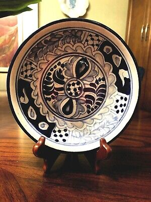 Mexican Folk Art Pottery Hand Painted Bowl Mexican