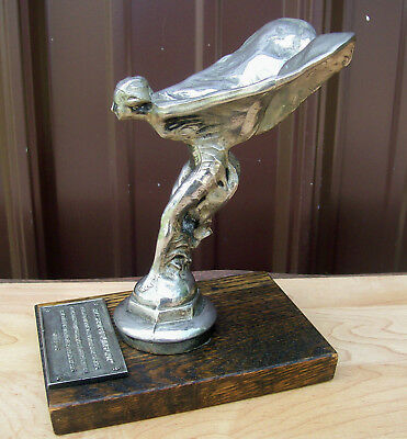 Rare ROLLS ROYCE Flying Lady SPIRIT OF ECSTACY vtg REPLICA HOOD ORNAMENT on BASE