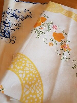 Vintage Large Round Printed Tablecloth & Small Embroidered Cut Work Table Cloth