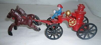 Vintage Cast Iron Horse Drawn Fire Engine Truck Carriage
