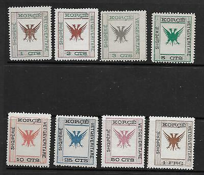 ALBANIA 1917; LOT of 8 MH LOCAL ISSUE for KORIZA (KORCE) Michel# 3-10; Sc# 54-61