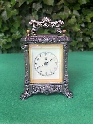 Rare Antique Ornate Waterbury Carriage Clock W/ Bell Alarm C1890