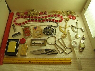 vintage junk drawer lot,jewelry,knife,openers,scales,watches,Zippos,belt buckles