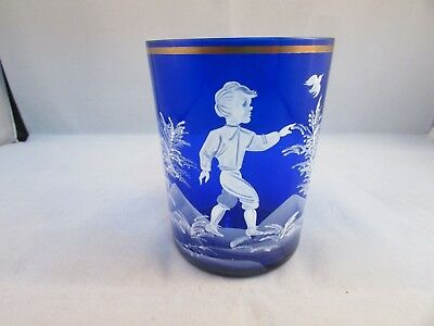 Antique Vintage Mary Gregory Enamel White Cobalt Blue With Boy Tumbler Glass