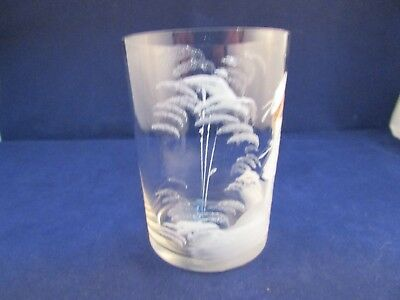 Antique Vintage Mary Gregory Enamel White Scenes With Girl Tumbler Glass