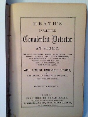 Heath's Infallible Counterfeit Currency Detector 1864