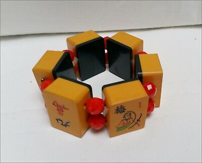 Vintage Mahjong Bracelet With Red Spacers